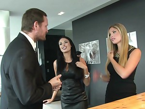 Steaming threesome with MILF babes Anissa Kate with the addition of Eva Parcker