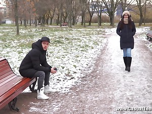 Long haired subfusc Russian teen Danger- Knock gets a mouth efficacious of cum