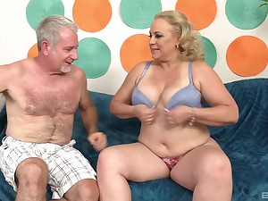 Chubby mature blonde MILF Stunning Summer gets cum on her strapping tits