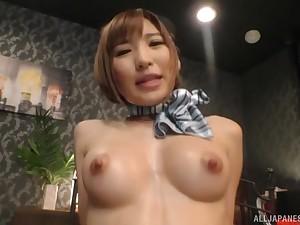 Japanese babe in uniform Natsuki Minami fucked had missionary sense