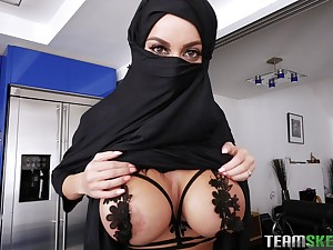 Babe in hijab Victoria June rides and sucks a hard cock for a cum shot