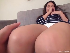 Japanese MILF sucks her husbands cock for ages c in depth getting her pussy licked