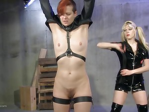 Unforeseen haired faggot slave tied up and tortured by her mistress