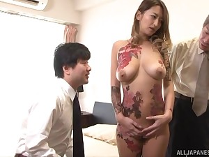 Busty tattooed Japanese Narumiya Kanna cum sprayed at the end of one's tether two sweltering guys
