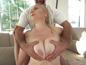 Mega busty granny Violett hooks up with young dude while her pinch pennies is out