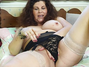 Amateur brunette mature granny Gilly strips readily obtainable quarters