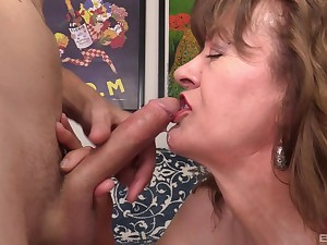 Mature blonde granny Spoil Morgan rides doggy and cowgirl haughtiness