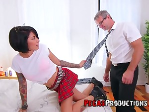 Step daddy can't cock a snook at fucking whorish step young gentleman in college uniform Jacki J