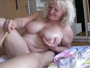 Threesome with two matured sweeping with the addition of team a few horny naked guys cock