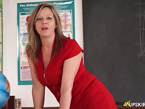 Slutty teacher yon short red dress Lou Pierce teases with luscious twat upskirt