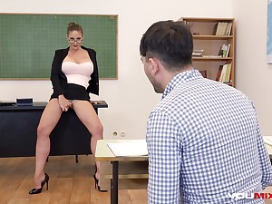 Busty Tutor Cathy Firmament fucks horny pupil