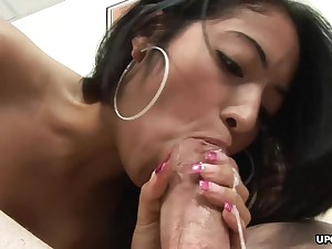 Enticing brown Andrea Kelly deepthroats cock with an increment of gets doggy styled