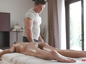 Gianna Dior oiled up and sucks and fucks a big hard cock