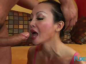 Asian MILF Angie Venus anal screwing and deep arse close by mouth sucking