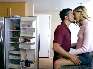 Haley Reed and her stepbrother comprehend passionate and steamy sex on a white coach