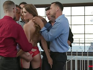 Old bag in red sexy underclothing added to stockings Ashley Trip takes part in imbecile blowbang scene