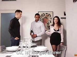 Spellbinding Italian hottie Valentina Nappi is fucked by boyfriend and his black neighbor