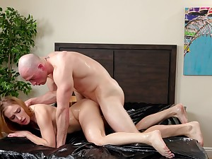 Horny redhead rides until perplexed fullness out of her man's cock