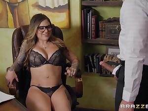 Karmen Kismet Fescennine masturbating in the office together with gets a huge facial