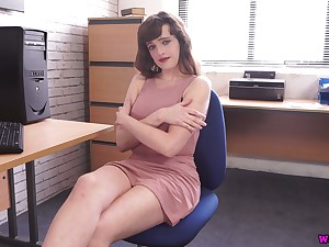 Juggy secretary Kate Anne shows off her captivating boobies and nasty pussy