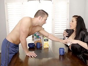 Gorgeous juggy overprotect Reagan Foxx is fucked hard apart from horny stepson