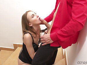 Skinny Ukrainian babe polishes BF's cock with her wet snatch