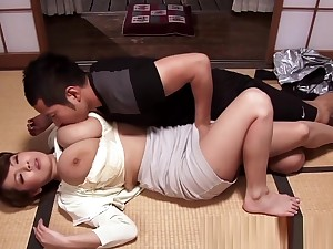Bigtitted asian mommy cocksuck with an increment of titfuck