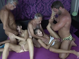 Hot granny craves be useful to these two big dicks in her tiny holes