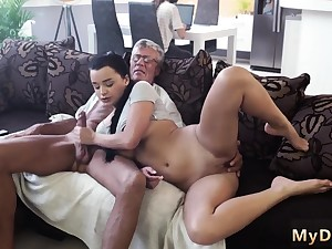 Blonde fucks old guy and midget What would you prefer -