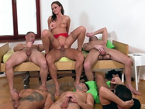 Tina Kay is the center of attention at near awesome gangbang fuck
