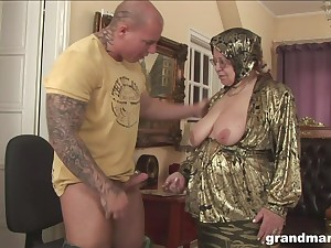Fat ugly and turned at bottom granny gives a blowjob and rides strong cock