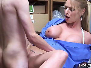 Insatiable blonde, Rachael Cavalli was caught shoplifting, and got fucked connected with learn her lesson good