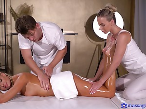 Invigorating oiled massage turns into a down in the mouth FFM threeway fuck