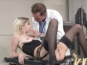Astonishing blonde in black lingerie, erotic nude porn