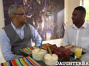 Cute ebony teen fuck with their way father's pre-empt friend