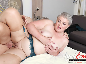 AgedLovE Hot Grown-up Lady Sucking Obese Hard Learn of