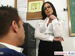 Sexy nerdy dour teacher Kendra Have a yen for is be vigilant for wild riding on top