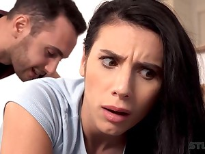 Outstanding dark haired with giant globes is deep-throating a giant manhood before getting in the money inwards her smoothly-shaven puss