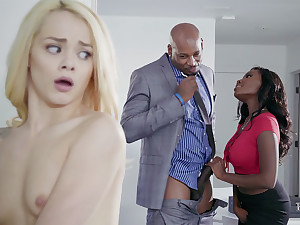 Housewife and spouse with BIG BLACK COCK poke nubile blondie
